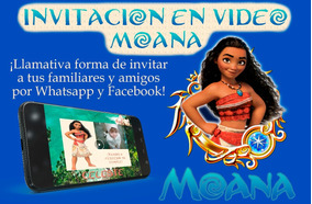 Video Tarjeta Invitación Cumpleaños Moana 5 Fotos
