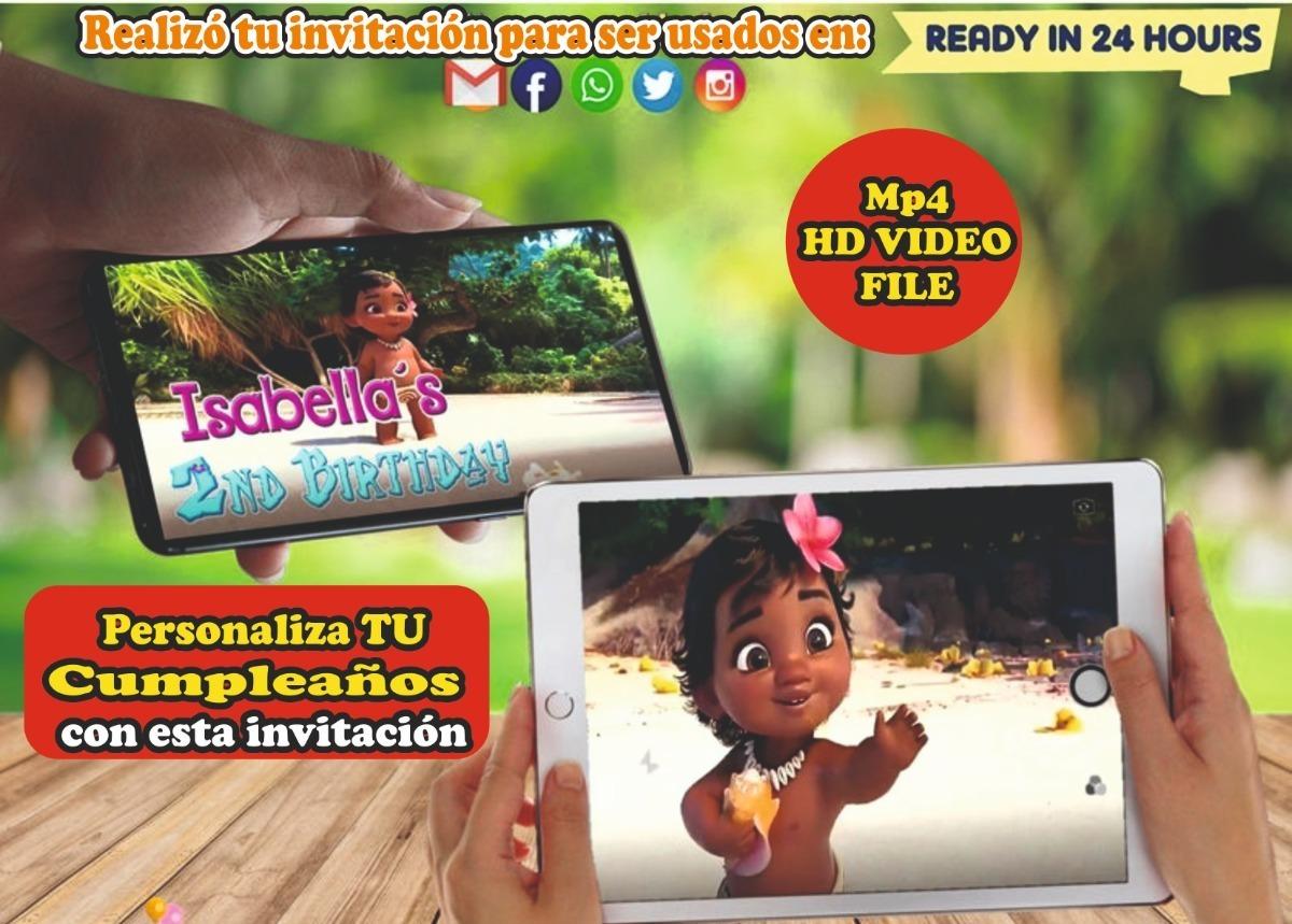 Video Tarjeta Invitación Cumpleaños Moana Invitacion Digital