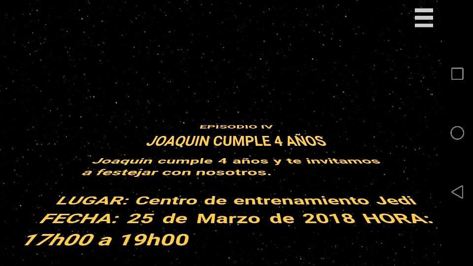 Video Tarjeta Invitacion Star Wars Online Digital Whatsapp