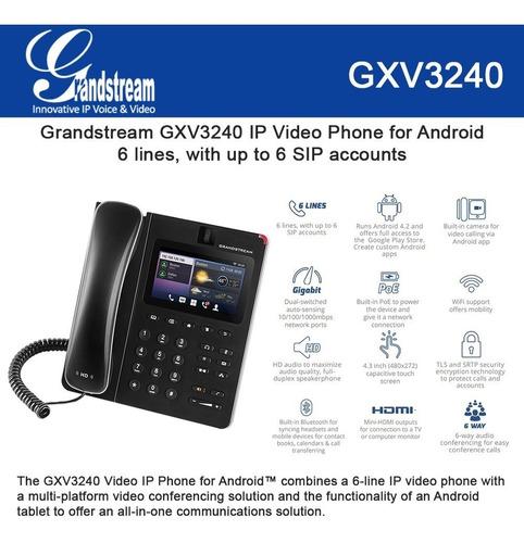video telefono ip grandstream gxv3240 6 lineas sip gigabite poe bluetooth mini hdmi inalambrico android