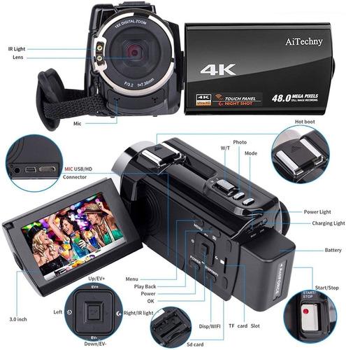videocámara 4k cámara digital ultra hd flash microfono y más