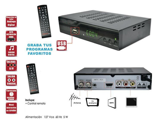 videograbadora digital tv full hd salida hdmi rca coax 1080p