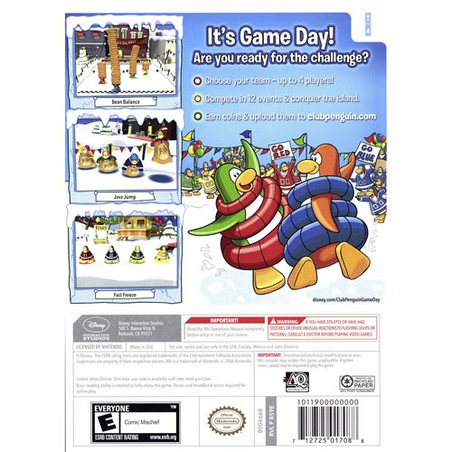videojuego: club penguin:game day para wii disney