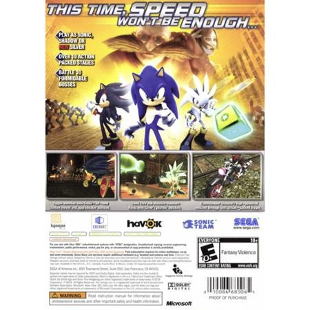 videojuego sonic the hedgehog (xbox 360)