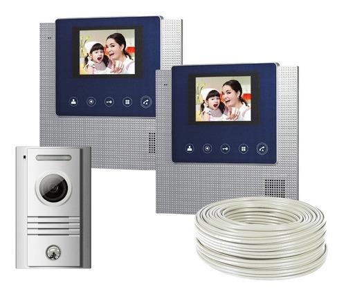 videoportero 2 monitor 4.3 pulgadas manos libres commax 50m