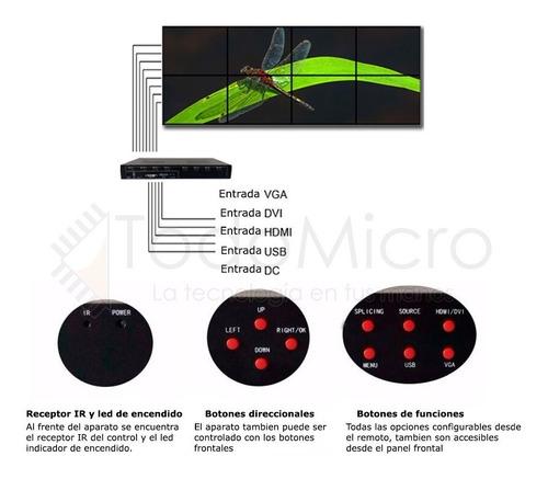 videowall hasta 8 pantallas 2x4 4x2 ag-608 hdmi dvi vga usb