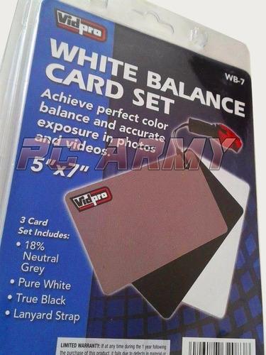 vidpro tarjetas de balance a blancos para foto y video