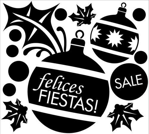 vidrieras plotter vinilos navidad felices fiestas