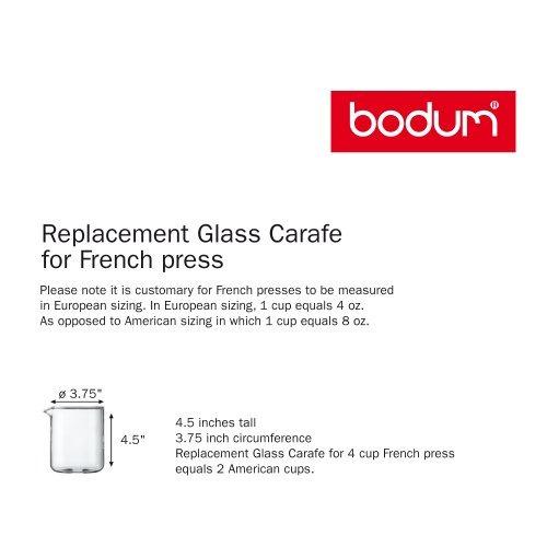vidrio bodum reemplazo dos copa, 17 onzas de cristal de rep
