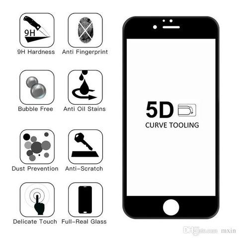 vidrio temperado 5d para iphone 6 / 6s negro (tikotienda) sj