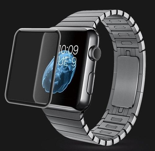 vidrio templado 3d + funda silicon negra para apple watch