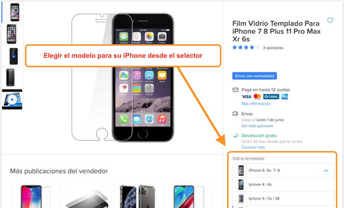 vidrio templado 9h iphone se 5 6s 6 7 8 plus 10 x xs xr max