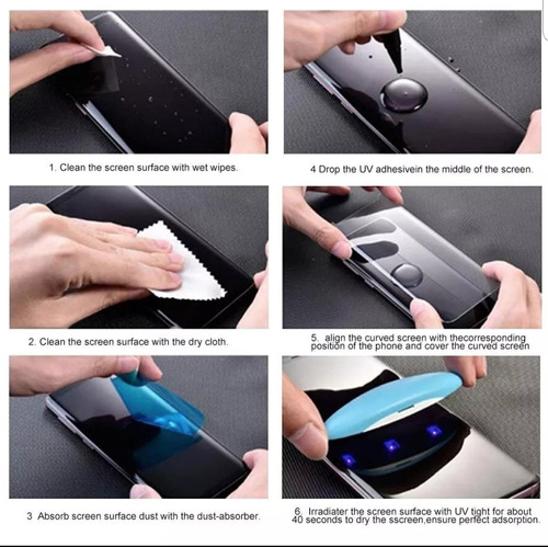 vidrio templado curvo glass gel uv nano optics samsung n8