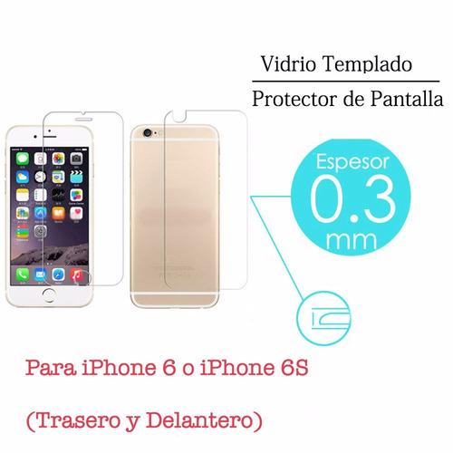 vidrio templado delantero y trasero apple iphone 6 6s