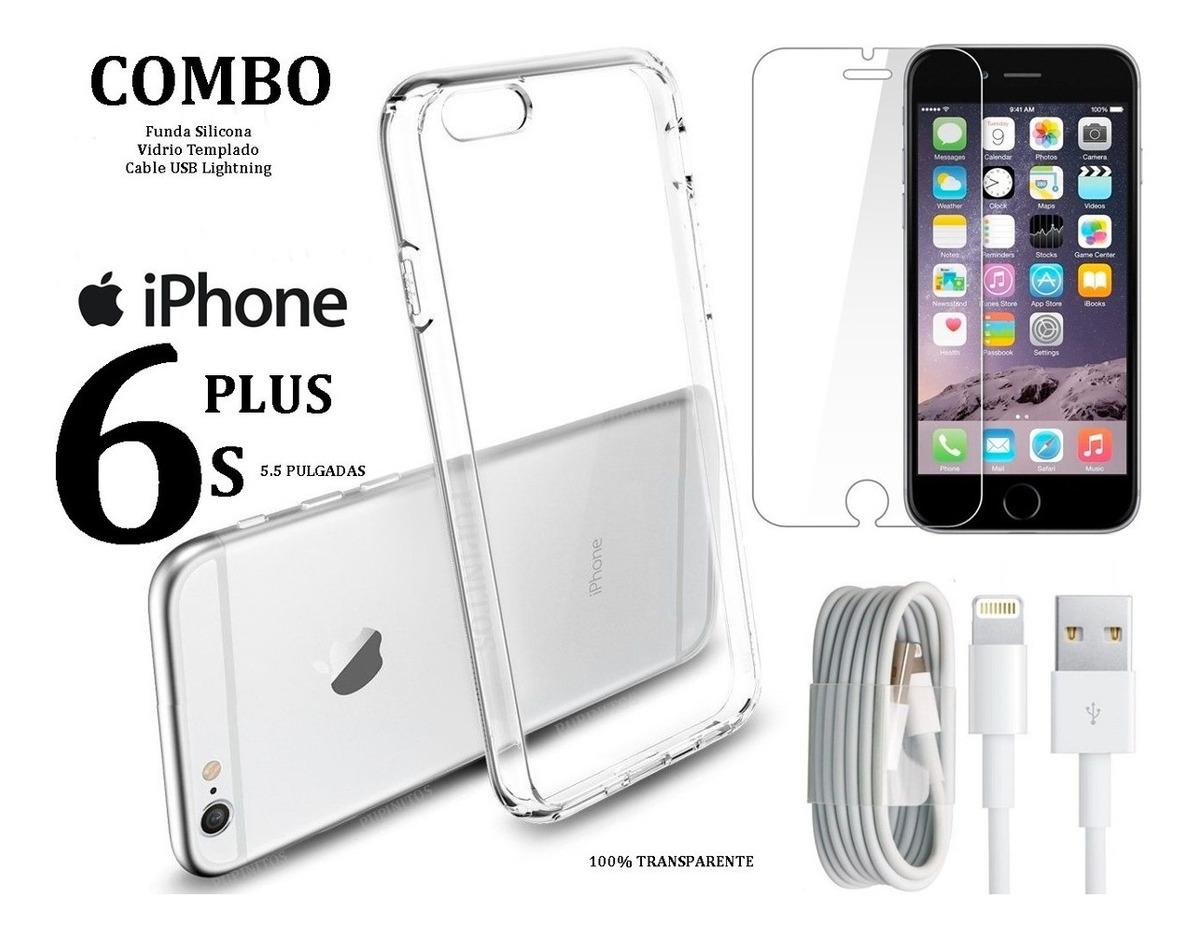 9ecf2a93091 Vidrio Templado + Funda + Cable Usb iPhone 6 6s Plus Rosario ...