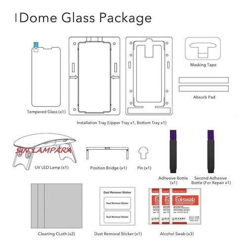 vidrio templado s10 s10+ s9+ whitestone dome glass original sin lampara