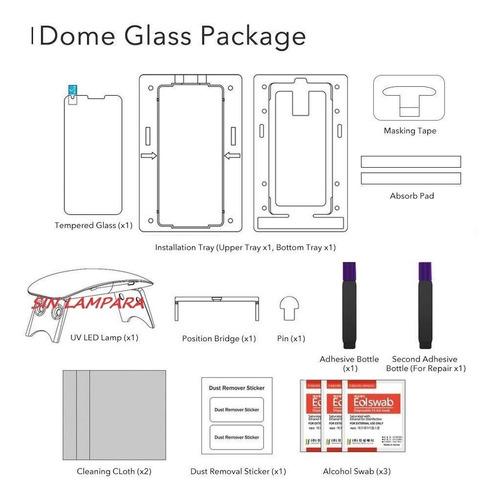 vidrio templado s10 s10+ s9+ whitestone dome glass original sin lampara