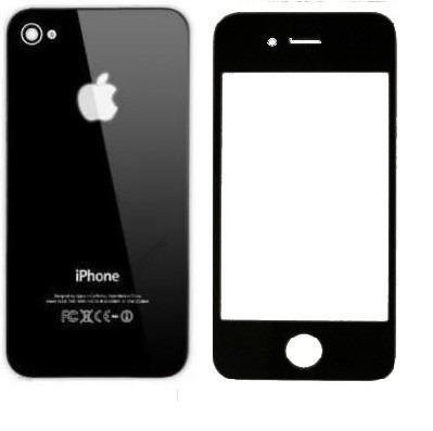 vidro frontal iphone 4s preto + tampa traseira preto