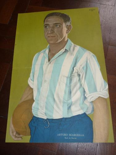 viejo poster lamina el grafico arturo scarcella racing 1935