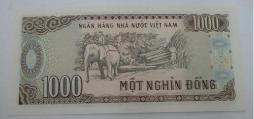 vietnan: bela  cédula  de 1.000 dong  de 1988   fe  fauna