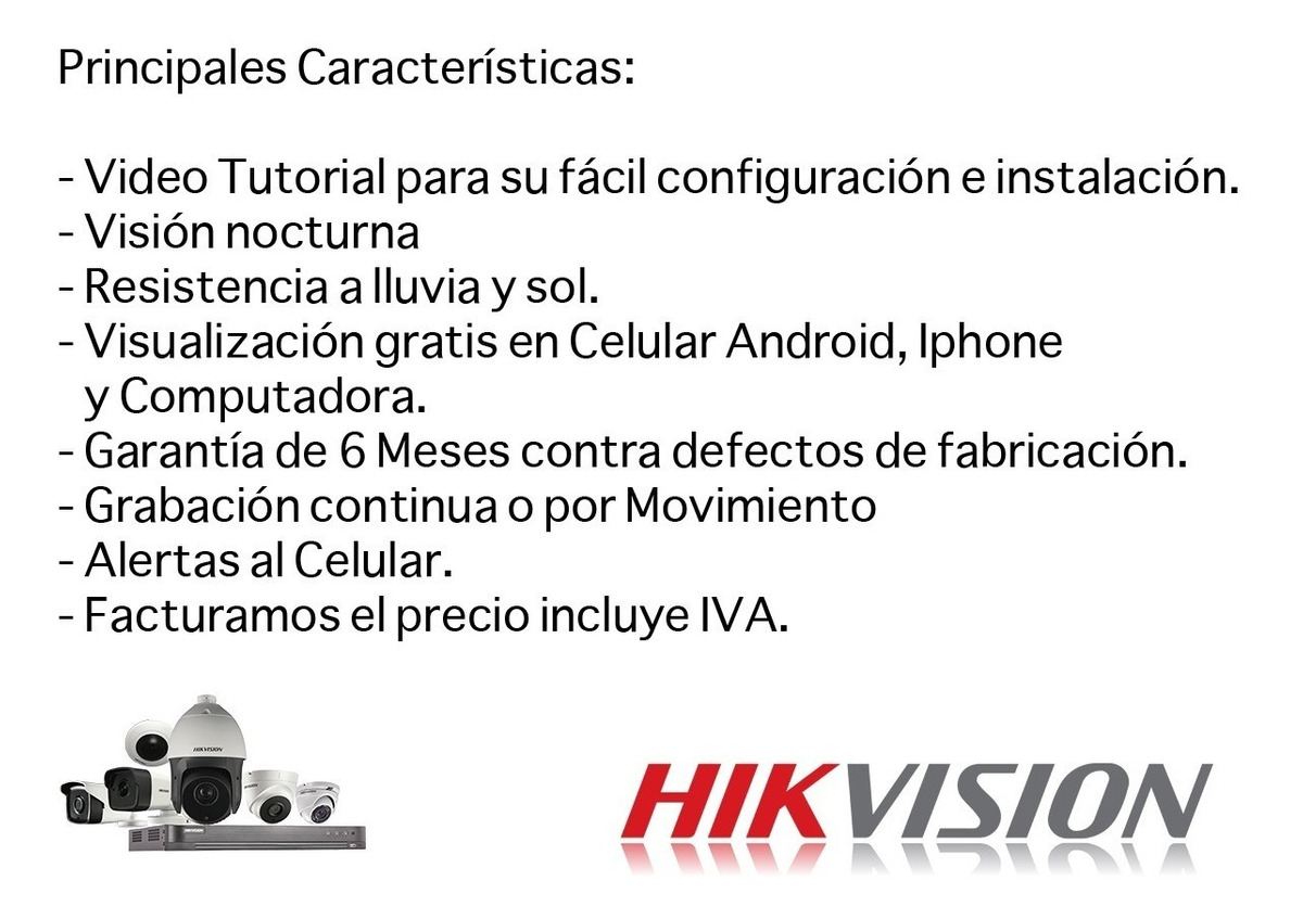 Kit Video Vigilancia Hikvision 4 Camaras 1080p 2 Mp 500 Gb