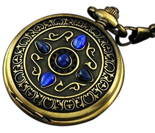 vigoroso mens vintage noble bronce blue stone gold skeleton