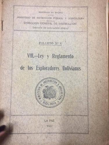 viii ley y reglamento de los exploradores bolivianos. s6