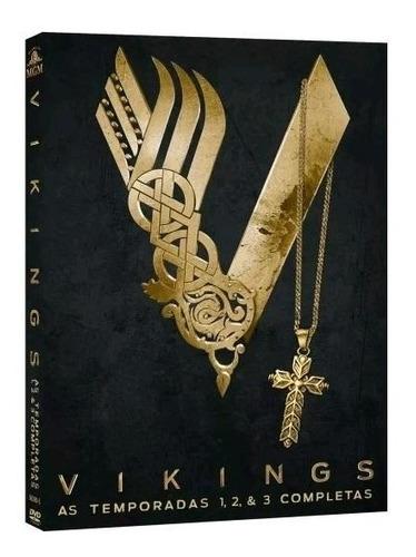 vikings 1ª a 3ª temporadas - box com 9 dvds - novo