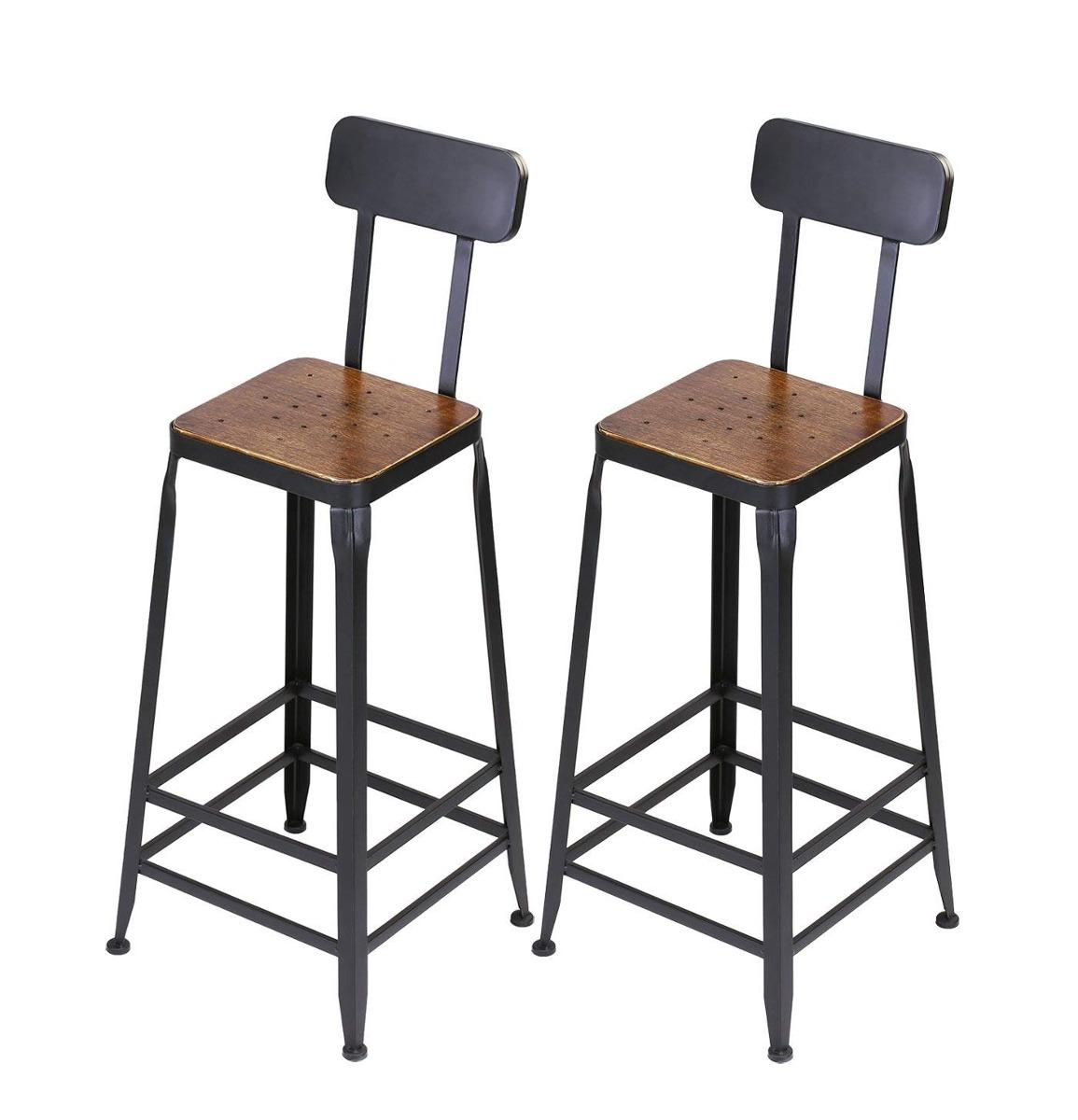 80986343311a4 vilavita set of 2 pine wood bar stools wooden top with me... Cargando zoom.