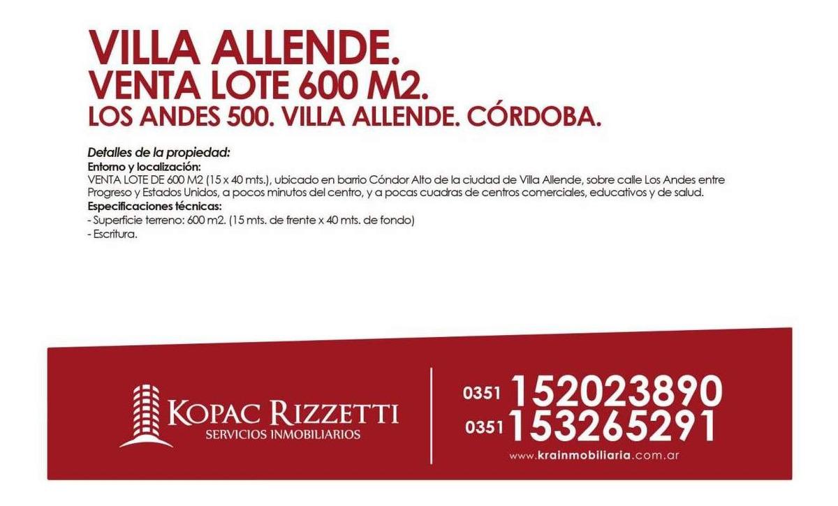 villa allende (los andes 500) - venta lote 600 m2.