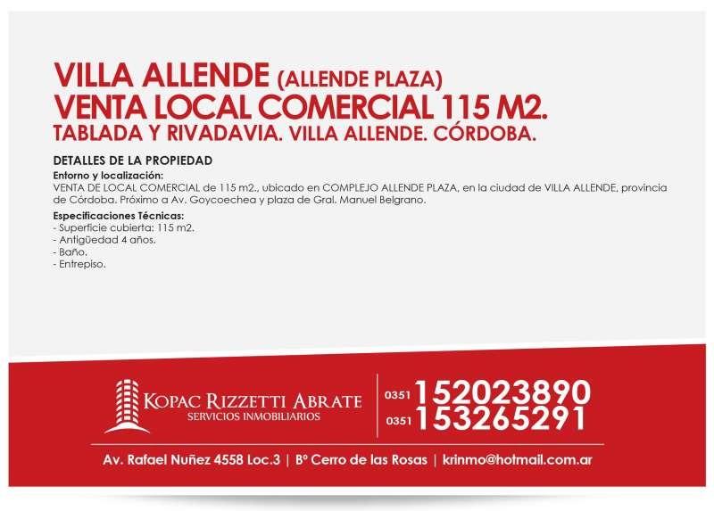 villa allende - venta local comercial 115 m2.