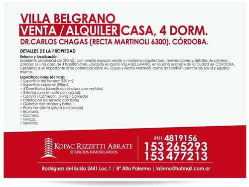 villa belgrano venta  casa, 4 dorm.