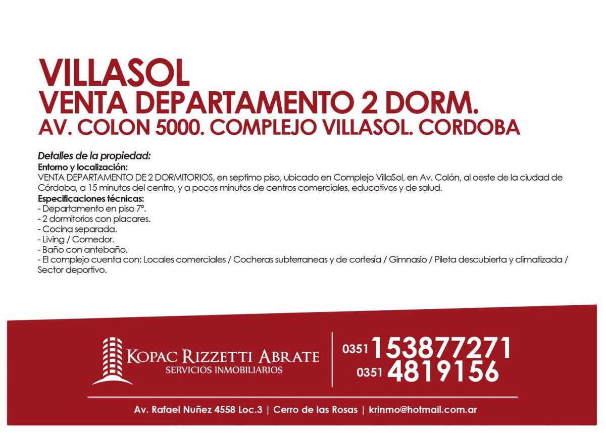 villa de sol (av. colon 5000) - venta departamento 2 dorm.