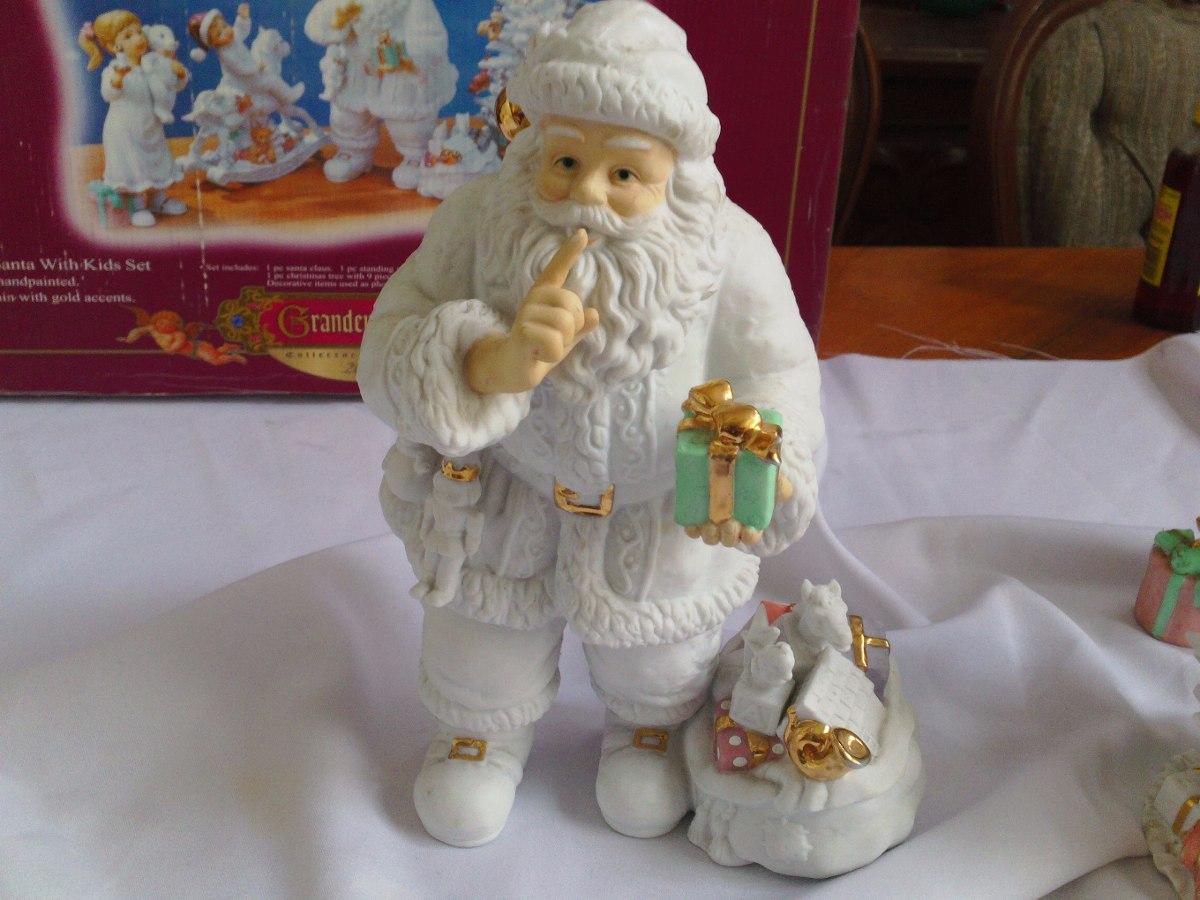 Villa navide a santa con ni os porcelana 3 en for Villas navidenas de porcelana