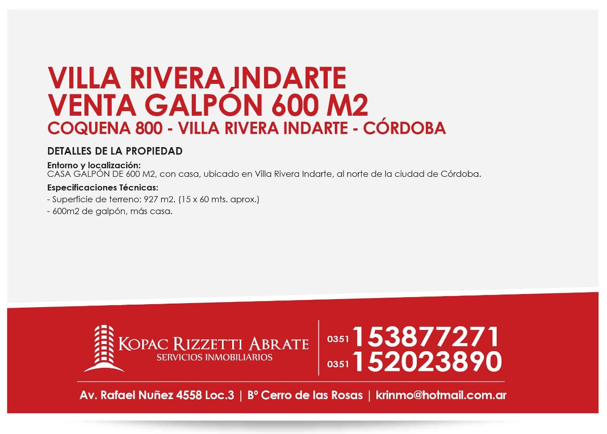 villa rivera indarte - venta galpon 600