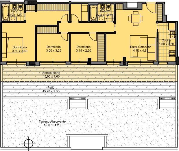 villa sarmiento - 4 ambientes en vita residenza. rentado
