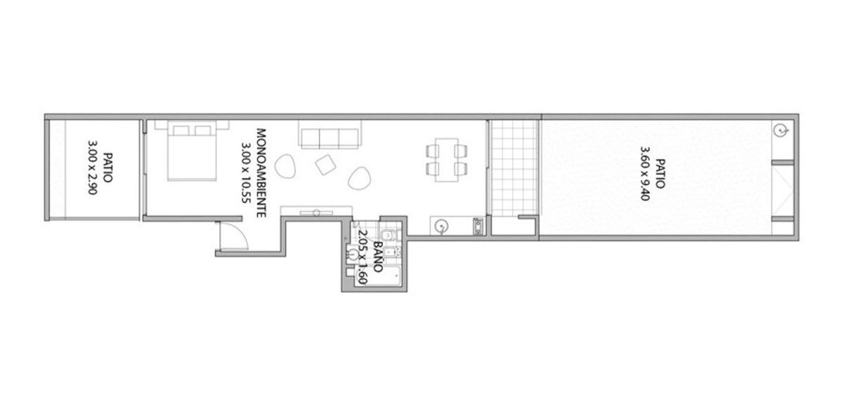 villa urquiza / 1 amb + patio / fines 2020