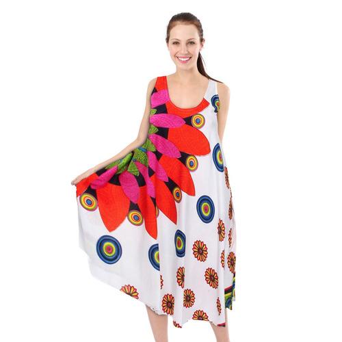 village venture - vestido tipo bata 1501 naranja unitalla