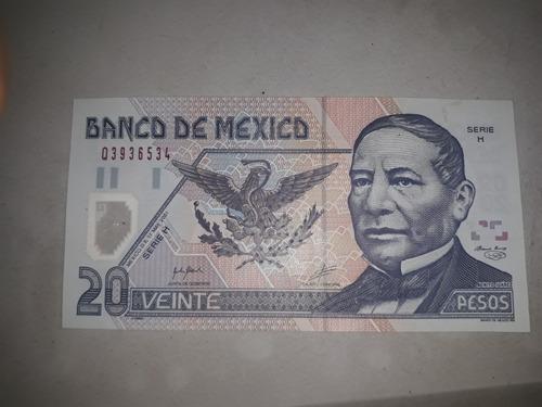 villete de 20 pesos mexicanos de 2001 serie h sin circular.