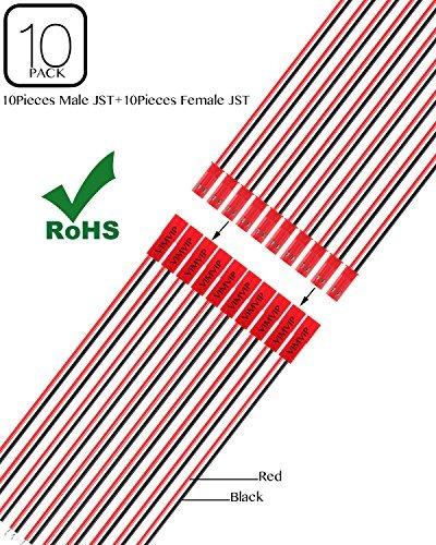 vimvip 10 pares 180 mm conector jst cable linea malefemale p
