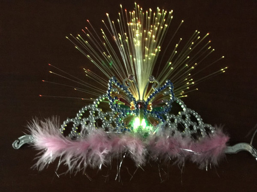 vincha corona led luminosa fibra óptica x 10 uni. cambia col