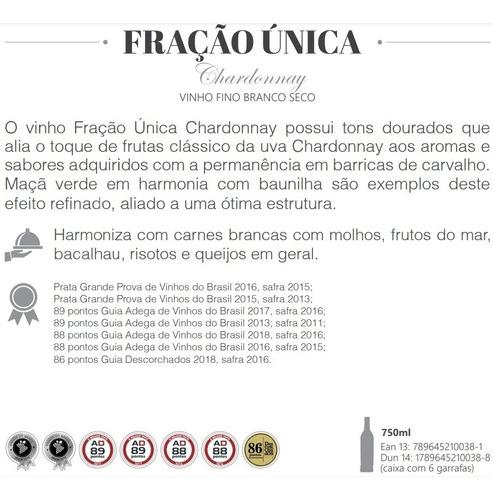 vinho casa perini fração única chardonnay 750ml - 3unid + nf
