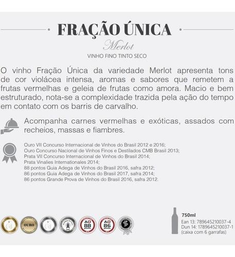 vinho casa perini fração única merlot 2018 - 750ml - 6 unid