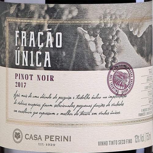 vinho casa perini fração única pinot noir 750ml - 6unid + nf