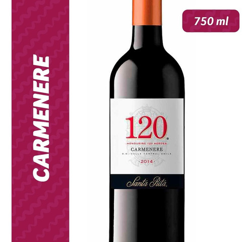 vinho ch tinto 120 santa rita carmenère garrafa 750ml