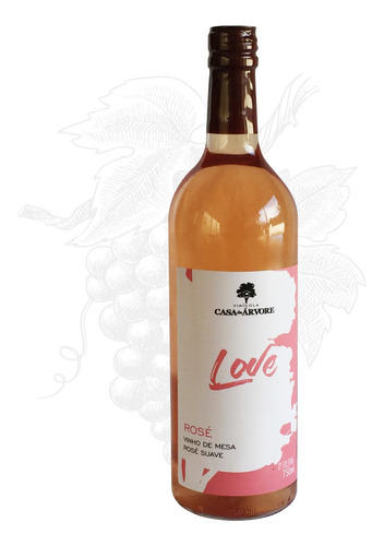 vinho rose suave love 750ml - casa da arvore