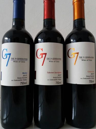 vinho seco chileno g7 7th generation 2017 kit (3 unidades)