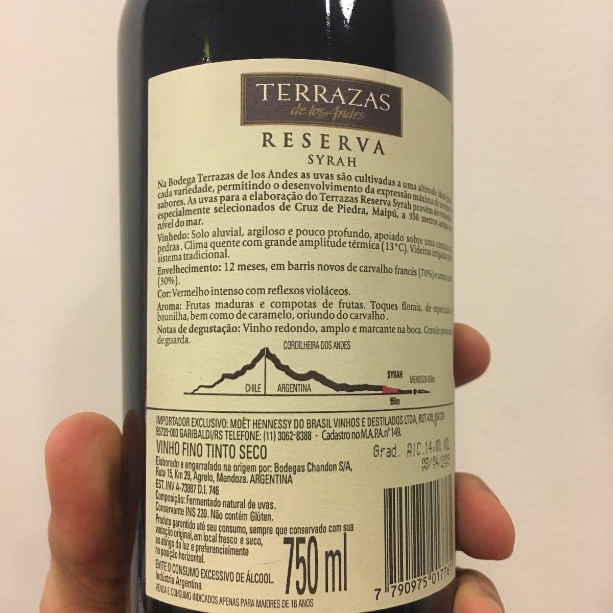 Vinho Terrazas De Los Andes Syrah 2007 750ml Argentina