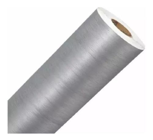 vinil adesivo aço escovado prata inox - 6mx60cm