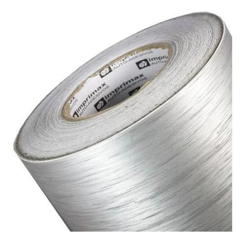 vinil adesivo aço escovado prata inox - bobina com 5 metros